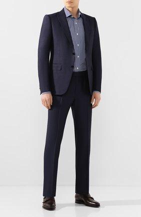 Мужская хлопковая рубашка LUCIANO BARBERA синего цвета, арт. 105489/72701 | Фото 2