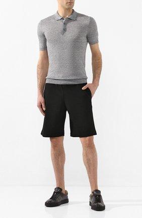 Мужское льняное поло GRAN SASSO серого цвета, арт. 57187/24804   Фото 2 (Материал внешний: Лен; Длина (для топов): Стандартные; Рукава: Короткие; Застежка: Пуговицы)