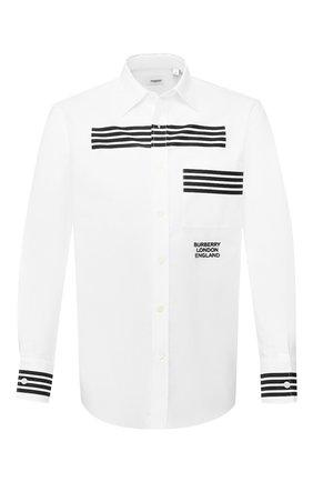 Мужская хлопковая рубашка BURBERRY белого цвета, арт. 8023754   Фото 1