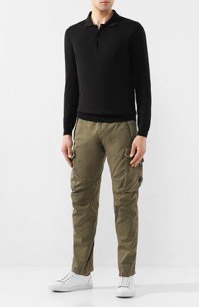 Мужское поло из смеси шелка и хлопка ALTEA черного цвета, арт. 2051009   Фото 2