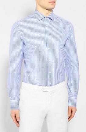 Мужская хлопковая сорочка ZILLI голубого цвета, арт. MFT-00402-03250/RZ02 | Фото 3