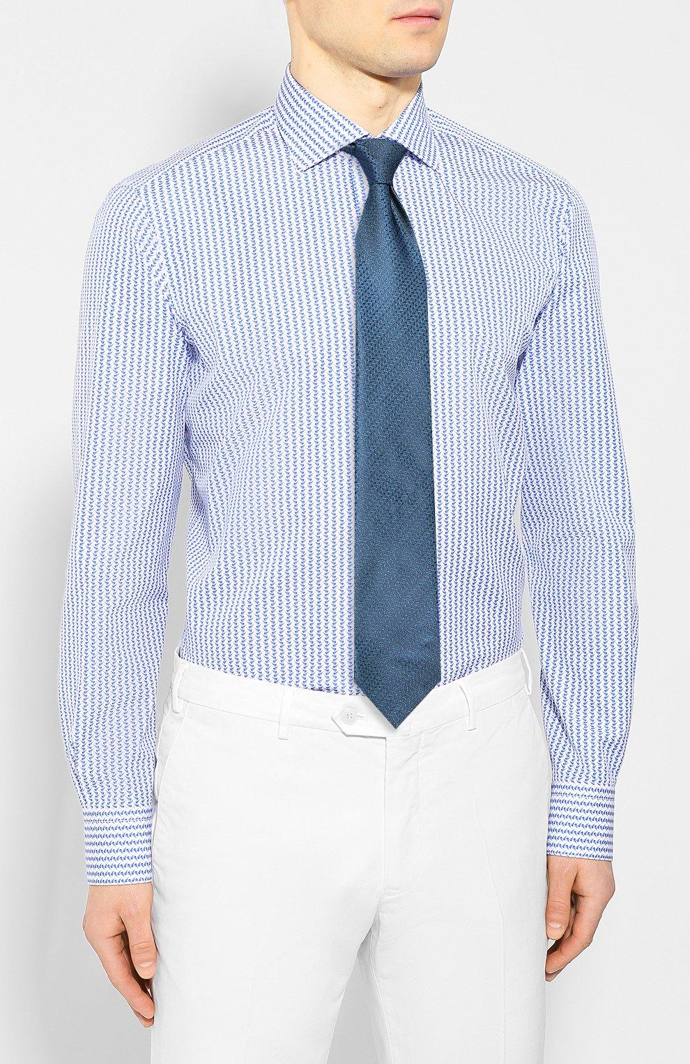 Мужская хлопковая сорочка ZILLI голубого цвета, арт. MFT-00402-03250/RZ02 | Фото 4
