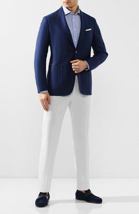 Мужской пиджак из смеси шерсти и шелка ZILLI синего цвета, арт. MNT-ECX3-1-C6064/M600 | Фото 2