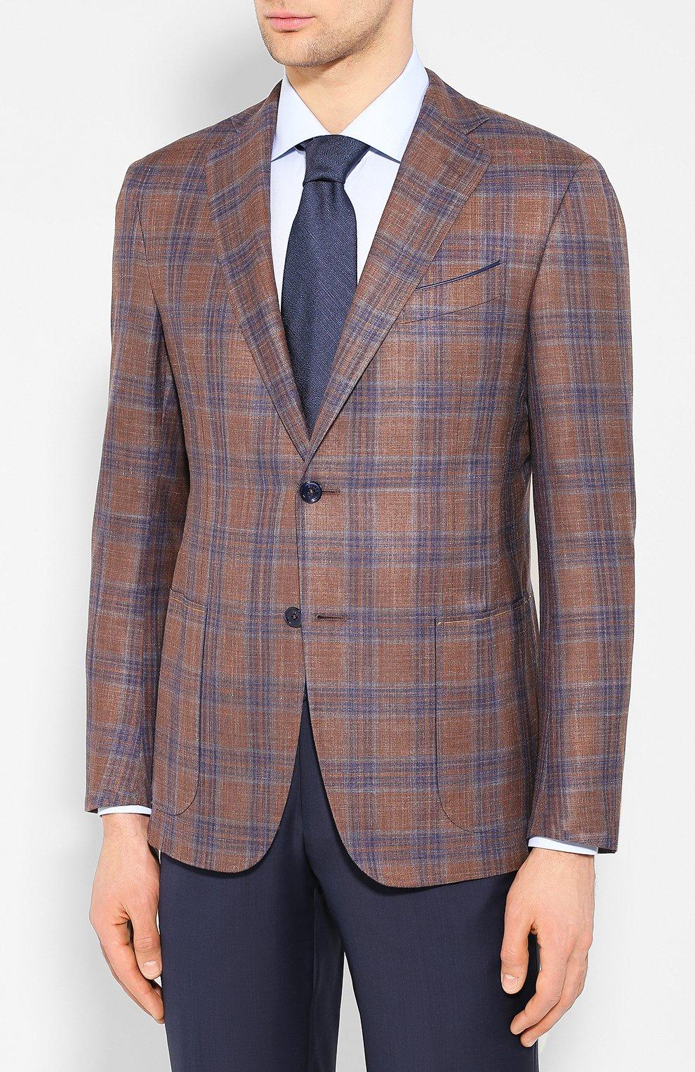 Мужской пиджак из смеси шерсти и шелка ZILLI светло-коричневого цвета, арт. MNT-VG2F-2-C6211/M001 | Фото 3