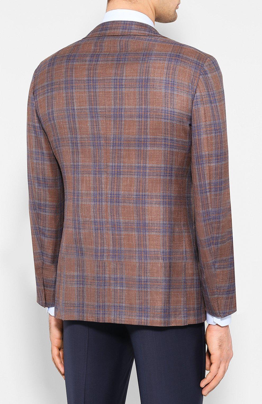 Мужской пиджак из смеси шерсти и шелка ZILLI светло-коричневого цвета, арт. MNT-VG2F-2-C6211/M001 | Фото 4