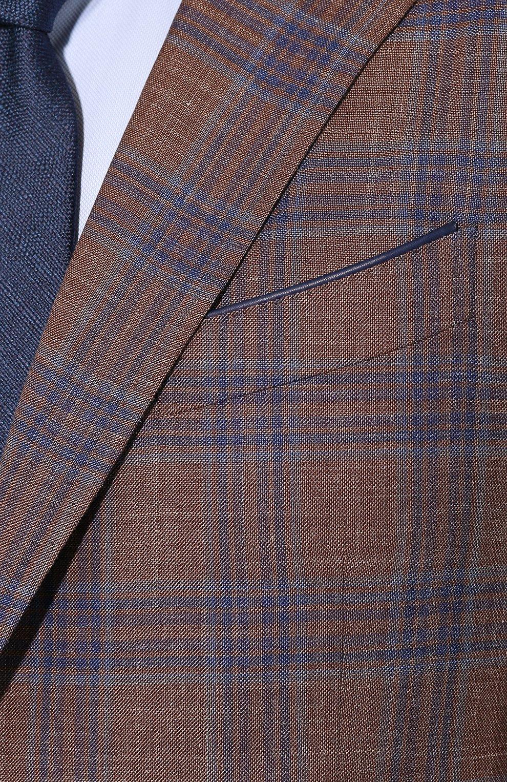 Мужской пиджак из смеси шерсти и шелка ZILLI светло-коричневого цвета, арт. MNT-VG2F-2-C6211/M001 | Фото 5