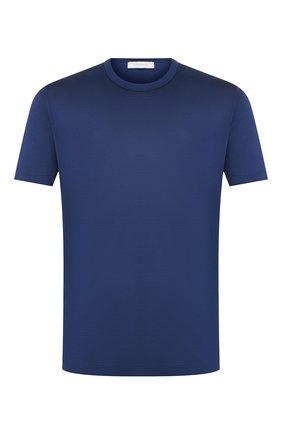 Мужская футболка из смеси хлопка и шелка CORTIGIANI синего цвета, арт. 816645/0000 | Фото 1