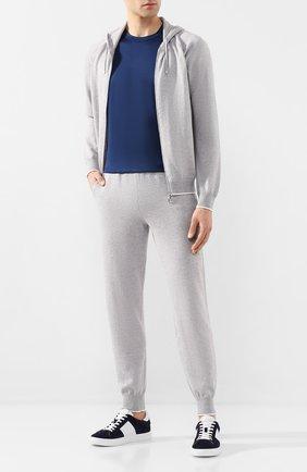 Мужская футболка из смеси хлопка и шелка CORTIGIANI синего цвета, арт. 816645/0000 | Фото 2