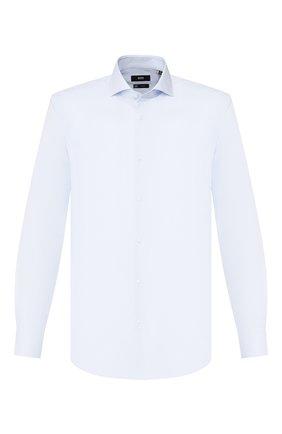 Мужская хлопковая сорочка BOSS голубого цвета, арт. 50428306 | Фото 1