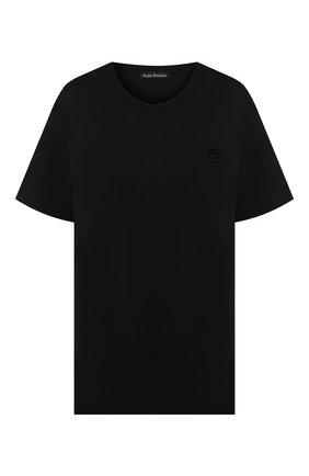 Женская хлопковая футболка ACNE STUDIOS черного цвета, арт. 25E173/W   Фото 1