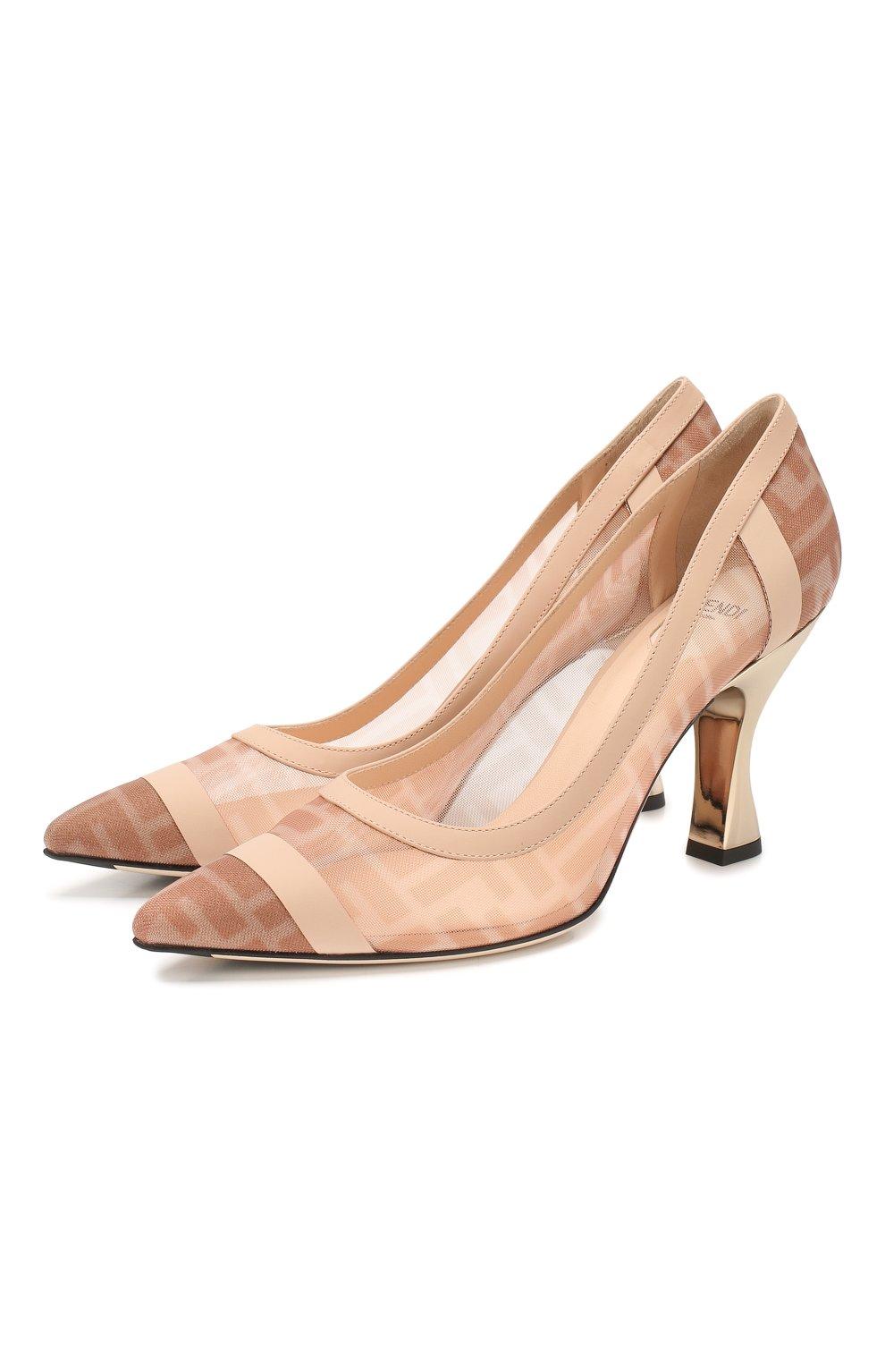 Женские комбинированные туфли FENDI розового цвета, арт. 8I6804 AK11 | Фото 1