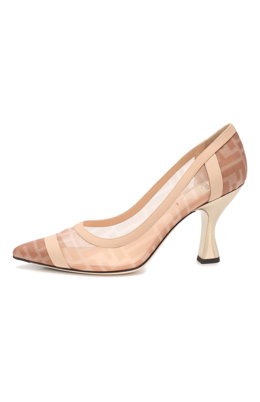 Женские комбинированные туфли FENDI розового цвета, арт. 8I6804 AK11 | Фото 3