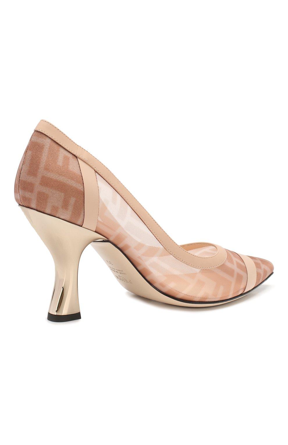 Женские комбинированные туфли FENDI розового цвета, арт. 8I6804 AK11 | Фото 4