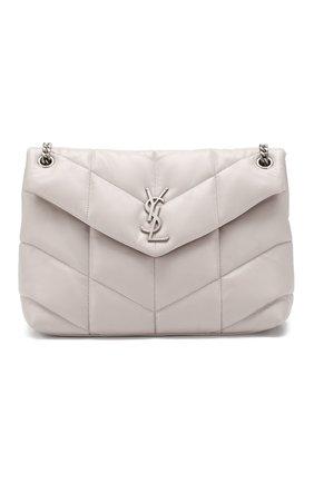 Женская сумка puffer loulou medium  SAINT LAURENT светло-серого цвета, арт. 577475/1EL00 | Фото 1