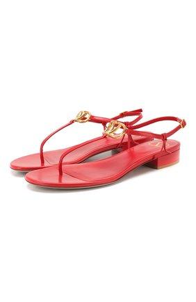 Женские кожаные сандалии valentino garavani vlogo VALENTINO красного цвета, арт. TW2S0V37/DDT | Фото 1