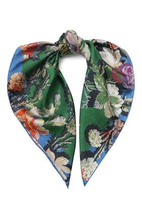Женский шелковый платок DRIES VAN NOTEN зеленого цвета, арт. 201-11302 | Фото 1