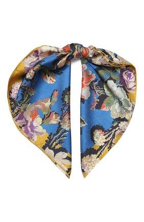 Женский шелковый платок DRIES VAN NOTEN синего цвета, арт. 201-11302 | Фото 1
