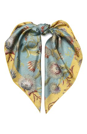 Женский шелковый платок DRIES VAN NOTEN голубого цвета, арт. 201-11303 | Фото 1