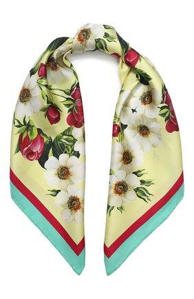 Женский шелковый платок DOLCE & GABBANA желтого цвета, арт. FN092R/GDS50 | Фото 1