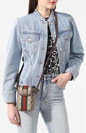Женская сумка ophidia mini GUCCI бежевого цвета, арт. 598912/96IWG | Фото 2