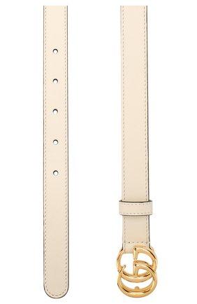 Женский кожаный ремень GUCCI белого цвета, арт. 409417/0YA00 | Фото 2