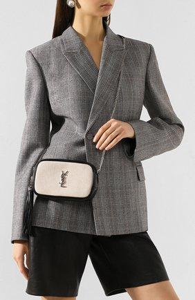 Женская сумка lou mini SAINT LAURENT кремвого цвета, арт. 612563/HZD5N | Фото 2