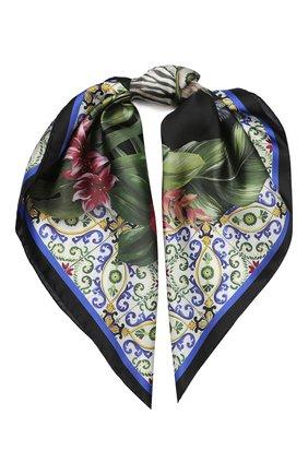Женский шелковый платок DOLCE & GABBANA черного цвета, арт. FN086R/FI1WX   Фото 1