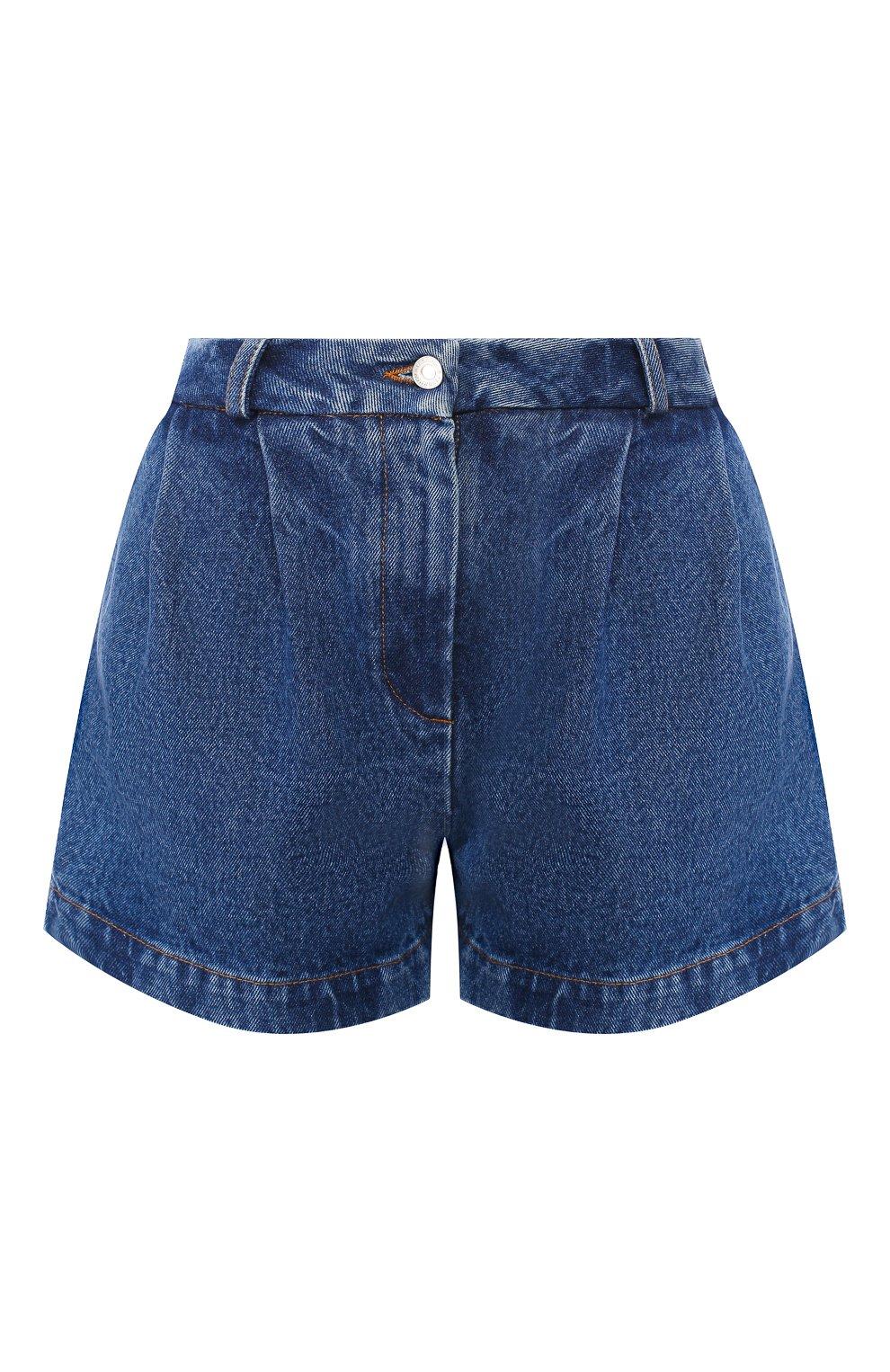 Женские джинсовые шорты ALEXANDER TEREKHOV синего цвета, арт. SRJS007/403/S20 | Фото 1 (Женское Кросс-КТ: Шорты-одежда; Кросс-КТ: Деним; Длина Ж (юбки, платья, шорты): Мини; Материал внешний: Хлопок)