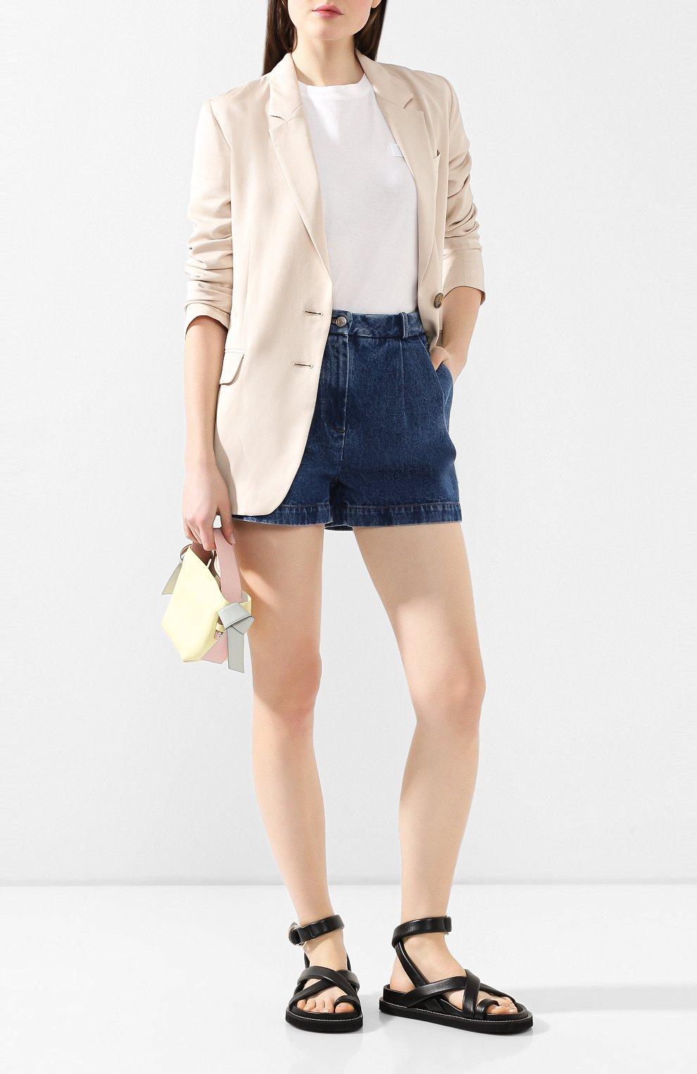 Женские джинсовые шорты ALEXANDER TEREKHOV синего цвета, арт. SRJS007/403/S20 | Фото 2 (Женское Кросс-КТ: Шорты-одежда; Кросс-КТ: Деним; Длина Ж (юбки, платья, шорты): Мини; Материал внешний: Хлопок)
