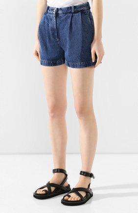 Женские джинсовые шорты ALEXANDER TEREKHOV синего цвета, арт. SRJS007/403/S20 | Фото 3 (Женское Кросс-КТ: Шорты-одежда; Кросс-КТ: Деним; Длина Ж (юбки, платья, шорты): Мини; Материал внешний: Хлопок)