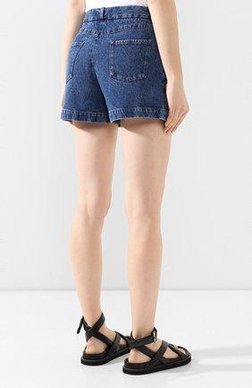 Женские джинсовые шорты ALEXANDER TEREKHOV синего цвета, арт. SRJS007/403/S20 | Фото 4 (Женское Кросс-КТ: Шорты-одежда; Кросс-КТ: Деним; Длина Ж (юбки, платья, шорты): Мини; Материал внешний: Хлопок)