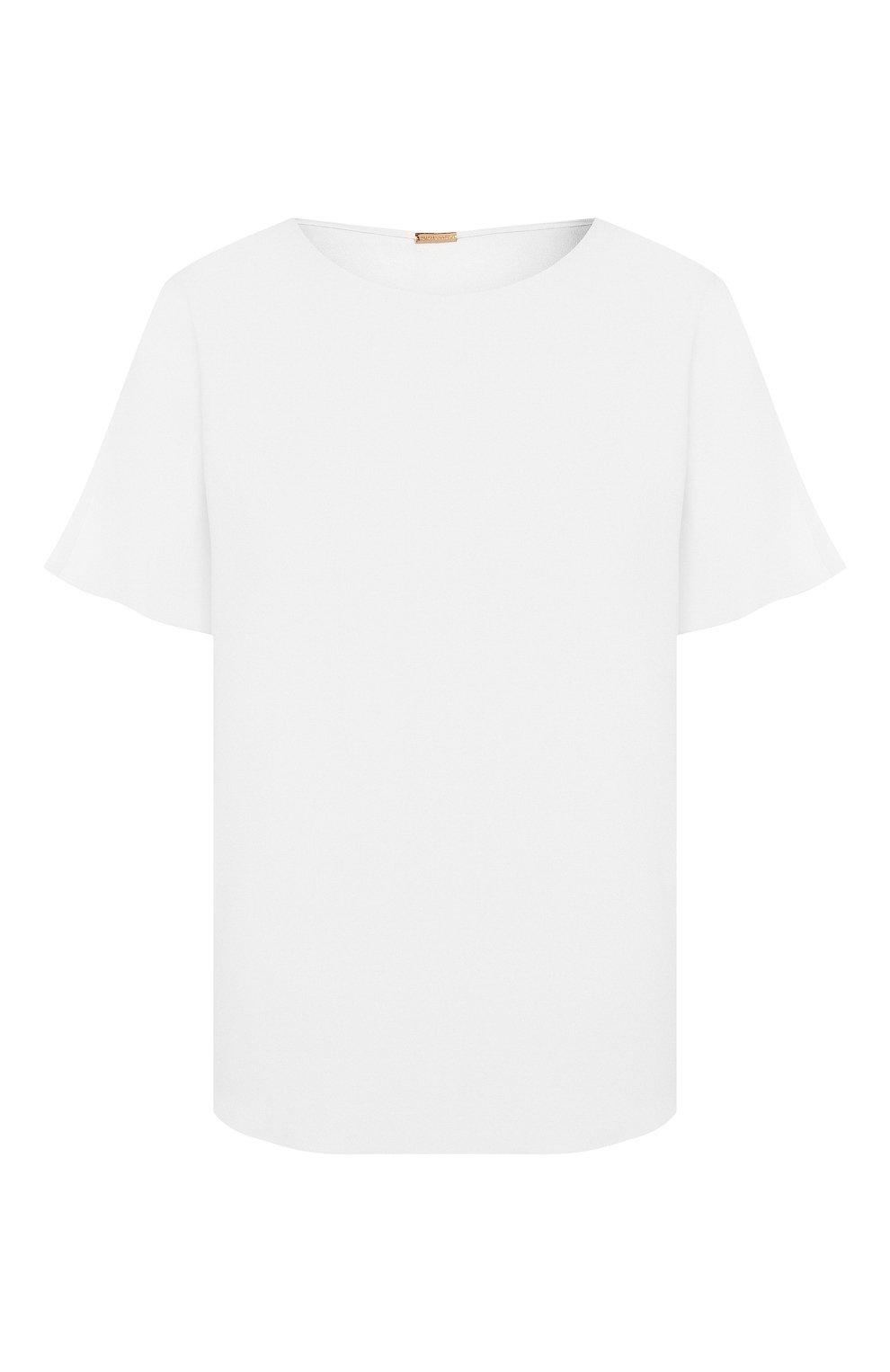 Женская блузка ADAM LIPPES белого цвета, арт. R20121SB   Фото 1 (Принт: Без принта; Рукава: Короткие; Материал внешний: Синтетический материал; Длина (для топов): Стандартные; Женское Кросс-КТ: Блуза-одежда)