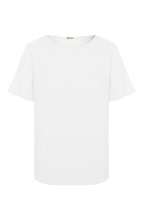 Женская блузка ADAM LIPPES белого цвета, арт. R20121SB | Фото 1 (Рукава: Короткие; Материал внешний: Синтетический материал; Длина (для топов): Стандартные; Принт: Без принта; Женское Кросс-КТ: Блуза-одежда)