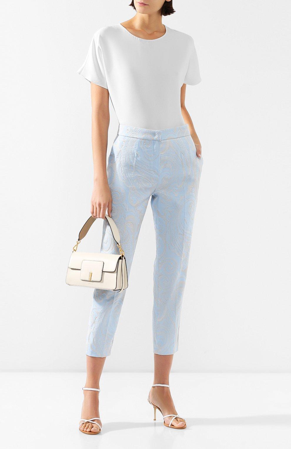 Женская блузка ADAM LIPPES белого цвета, арт. R20121SB   Фото 2 (Принт: Без принта; Рукава: Короткие; Материал внешний: Синтетический материал; Длина (для топов): Стандартные; Женское Кросс-КТ: Блуза-одежда)