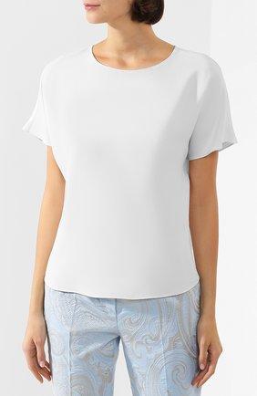 Женская блузка ADAM LIPPES белого цвета, арт. R20121SB   Фото 3 (Принт: Без принта; Рукава: Короткие; Материал внешний: Синтетический материал; Длина (для топов): Стандартные; Женское Кросс-КТ: Блуза-одежда)