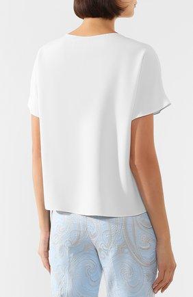 Женская блузка ADAM LIPPES белого цвета, арт. R20121SB   Фото 4 (Принт: Без принта; Рукава: Короткие; Материал внешний: Синтетический материал; Длина (для топов): Стандартные; Женское Кросс-КТ: Блуза-одежда)