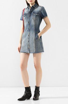 Женское джинсовое платье SAINT LAURENT голубого цвета, арт. 601270/YL870 | Фото 2