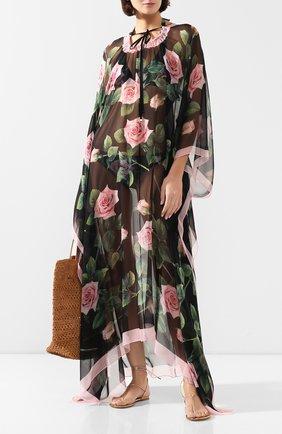 Женское шелковое платье-туника DOLCE & GABBANA черного цвета, арт. F6F1HT/GDU04 | Фото 2