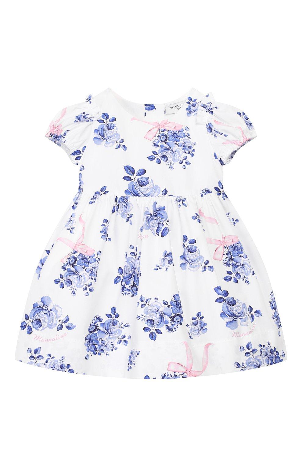 Женский хлопковое платье MONNALISA голубого цвета, арт. 315902   Фото 1 (Рукава: Короткие; Материал внешний: Хлопок; Ростовка одежда: 12 мес   80 см, 18 мес   86 см, 3 года   98 см, 24 мес   92 см, 9 мес   74 см)