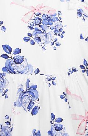 Женский хлопковое платье MONNALISA голубого цвета, арт. 315902   Фото 3 (Рукава: Короткие; Материал внешний: Хлопок; Ростовка одежда: 12 мес   80 см, 18 мес   86 см, 3 года   98 см, 24 мес   92 см, 9 мес   74 см)