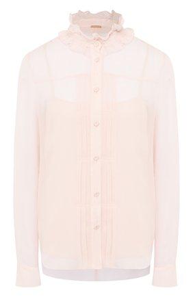 Женская шелковая блузка ADAM LIPPES розового цвета, арт. R20113CH | Фото 1 (Рукава: Длинные; Материал внешний: Шелк; Длина (для топов): Стандартные; Материал подклада: Шелк; Принт: Без принта; Женское Кросс-КТ: Блуза-одежда)