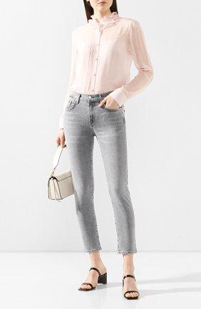 Женская шелковая блузка ADAM LIPPES розового цвета, арт. R20113CH | Фото 2 (Рукава: Длинные; Материал внешний: Шелк; Длина (для топов): Стандартные; Материал подклада: Шелк; Принт: Без принта; Женское Кросс-КТ: Блуза-одежда)