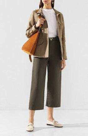 Женская льняная куртка LORO PIANA хаки цвета, арт. FAF6362 | Фото 2