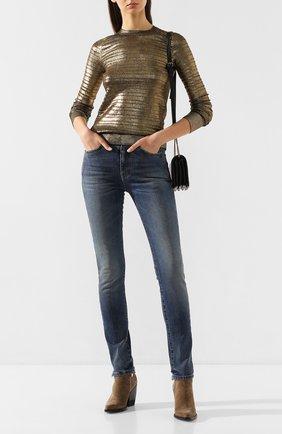 Женские джинсы SAINT LAURENT синего цвета, арт. 614458/YR477 | Фото 2