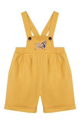 Детский хлопковый комбинезон GUCCI желтого цвета, арт. 591564/XWAG8 | Фото 1