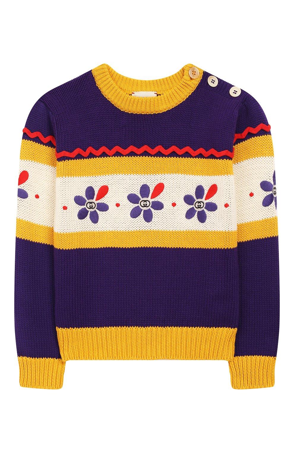 Детский хлопковый пуловер GUCCI фиолетового цвета, арт. 596247/XKA6H | Фото 1