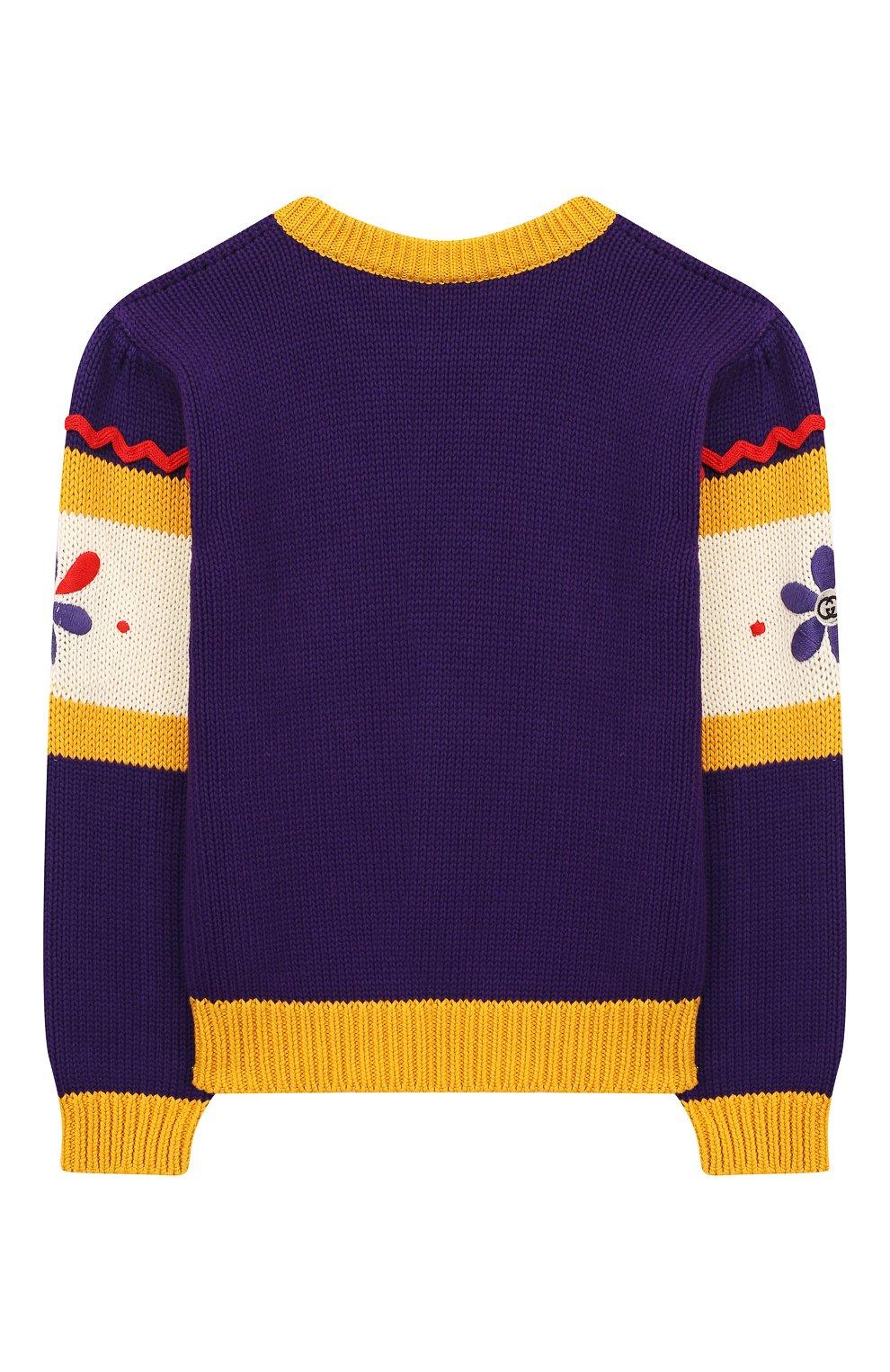 Детский хлопковый пуловер GUCCI фиолетового цвета, арт. 596247/XKA6H | Фото 2