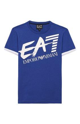Детская хлопковая футболка EA 7 синего цвета, арт. 3HBT56/BJT3Z | Фото 1