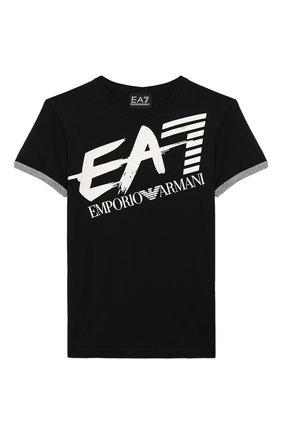 Детская хлопковая футболка EA 7 черного цвета, арт. 3HBT56/BJT3Z | Фото 1