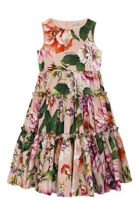 Детское хлопковое платье DOLCE & GABBANA светло-розового цвета, арт. L52DF0/HS5F8/2-6 | Фото 1
